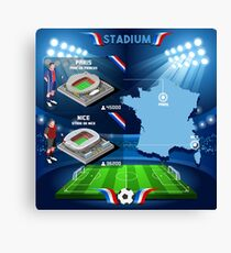 Paris Nice Stadium Infographics Canvas Print