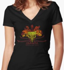 JBAWM Red Flower Women's Fitted V-Neck T-Shirt