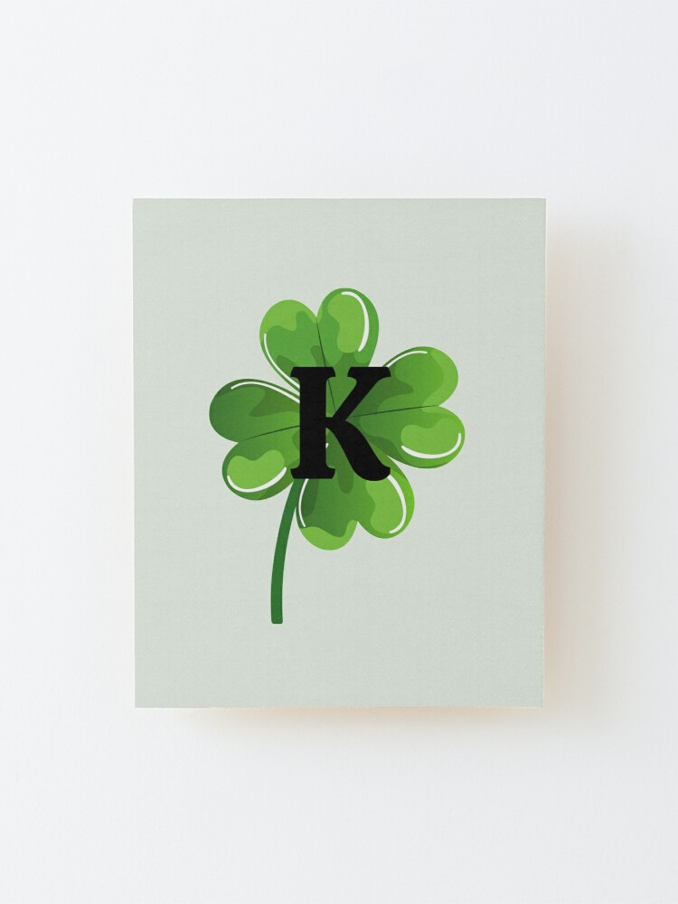 Alternate view of Initial K on a shamrock Mounted Print