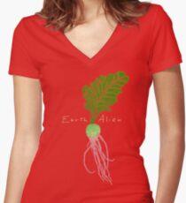 Earth Alien Watermelon Radish Women's Fitted V-Neck T-Shirt