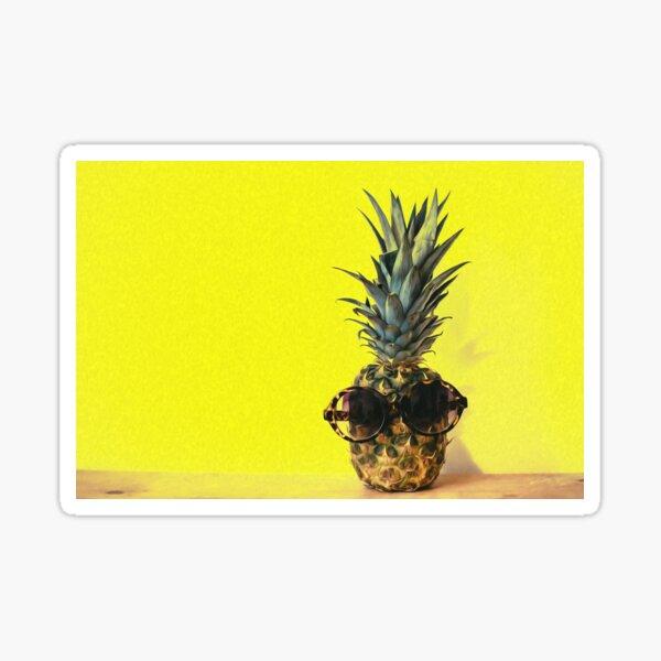 Pineapple Sunglasses Yellow Background Minimal Table  Sticker