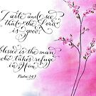 Blessed is the Man handwritten inspirational Psalm by Melissa Goza