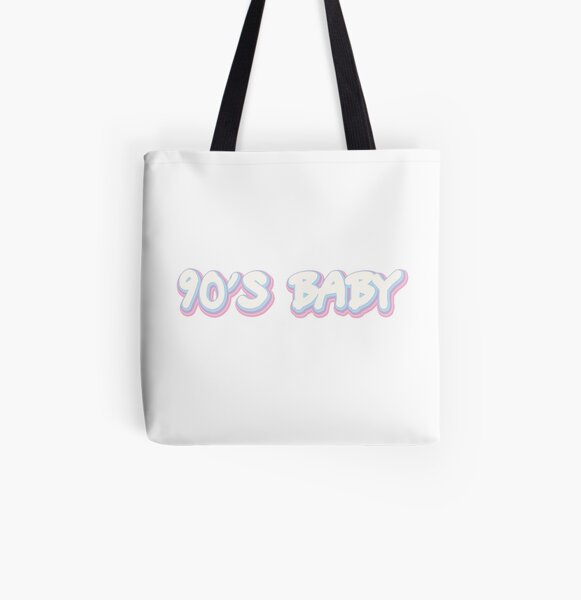 Printed in Black or Pink 90s BABY TOTE BAG
