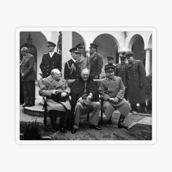 The Big Three at the Yalta Conference: Winston Churchill, Franklin D. Roosevelt, and Joseph Stalin Transparent Sticker