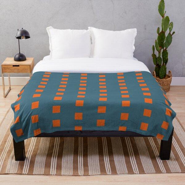 Bright Orange Squares Throw Blanket
