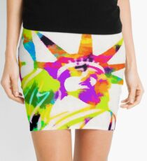 Statue Of Liberty Colorful Abstract Mini Skirt