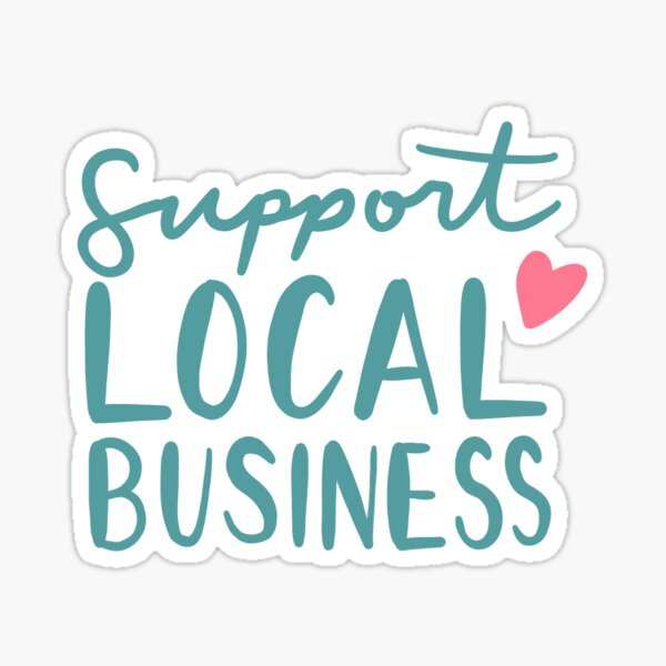 Support Local Business Teal Hand Lettered with Pink Heart Sticker