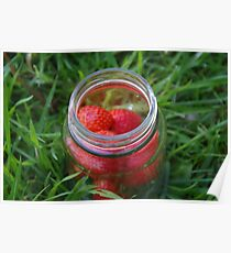 Glass Jar with Strawberries Poster