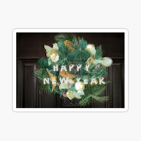 Happy new year, Christmas crown Sticker