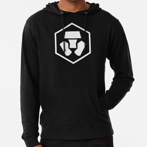 Logotipo de Crypto.com en negro Sudadera ligera con capucha