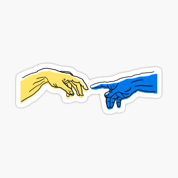 Création d'Adam en bleu et jaune Sticker