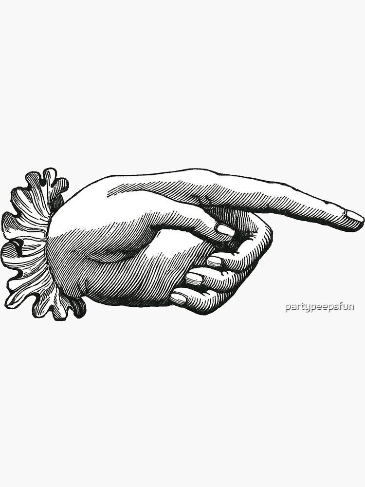 Old Victorian vintage pointing hand sign sticker by partypeepsfun