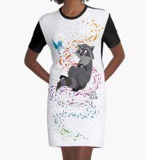 Adorable Little Raccoon  Graphic T-Shirt Dress