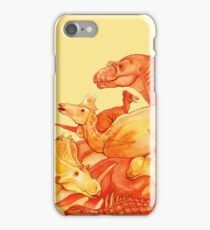 cretaceous congregation - orange & yellow dinosaurs iPhone Case/Skin