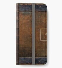 Old Worn Leather Book Cover Design iPhone Wallet