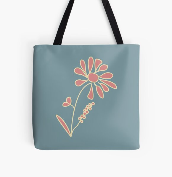 Artsy abstract linear daisy flower sketch - Pastel pink, blue, yellow - Caroline Laursen Original All Over Print Tote Bag