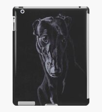 Black Greyhound Silhouette Colored pencil Drawing iPad Case/Skin