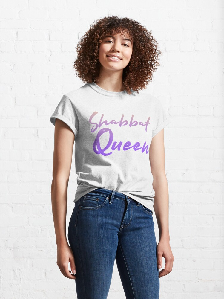 Alternate view of Shabbat Queen [warm to iris ombré script] Classic T-Shirt