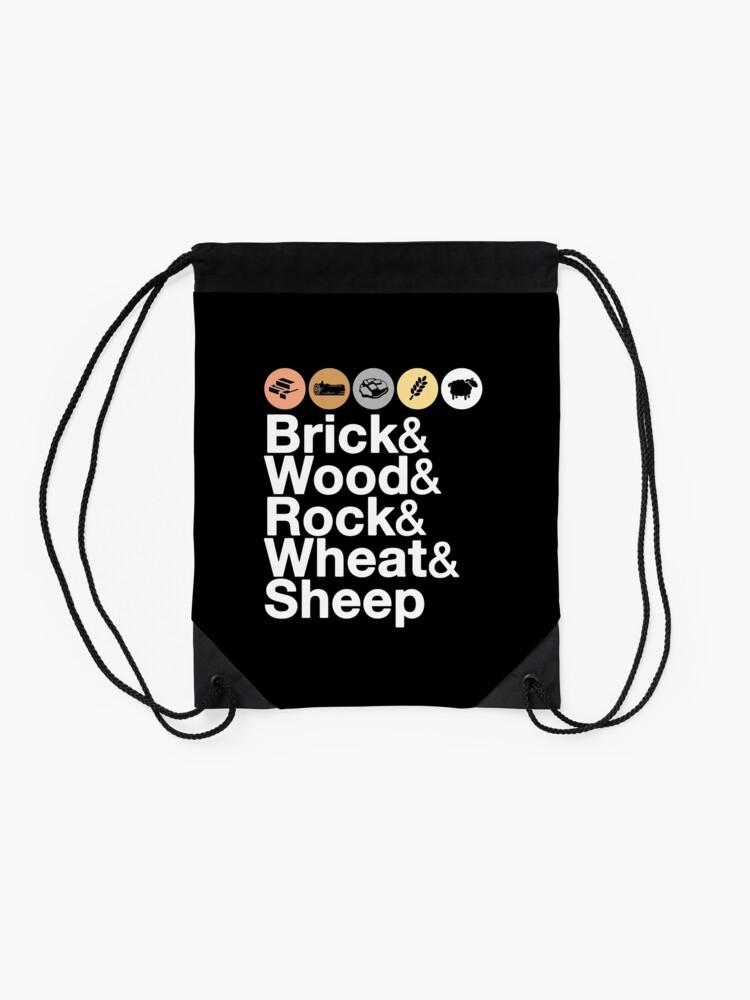 Alternate view of Helvetica Settlers of Catan: Brick, Wood, Rock, Wheat, Sheep   Board Game Geek Ampersand Design Drawstring Bag