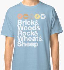 Helvetica Settlers of Catan: Brick, Wood, Rock, Wheat, Sheep | Board Game Geek Ampersand Design Classic T-Shirt