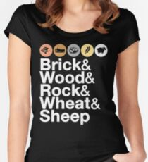 Helvetica Settlers of Catan: Brick, Wood, Rock, Wheat, Sheep | Board Game Geek Ampersand Design Women's Fitted Scoop T-Shirt