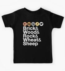 Helvetica Settlers of Catan: Brick, Wood, Rock, Wheat, Sheep | Board Game Geek Ampersand Design Kids T-Shirt