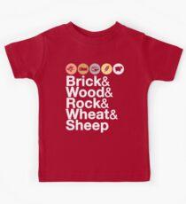 Helvetica Settlers of Catan: Brick, Wood, Rock, Wheat, Sheep | Board Game Geek Ampersand Design Kids Tee