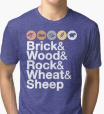 Helvetica Settlers of Catan: Brick, Wood, Rock, Wheat, Sheep   Board Game Geek Ampersand Design Tri-blend T-Shirt