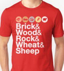Helvetica Settlers of Catan: Brick, Wood, Rock, Wheat, Sheep | Board Game Geek Ampersand Design Unisex T-Shirt