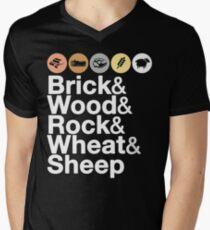 Helvetica Settlers of Catan: Brick, Wood, Rock, Wheat, Sheep | Board Game Geek Ampersand Design Men's V-Neck T-Shirt