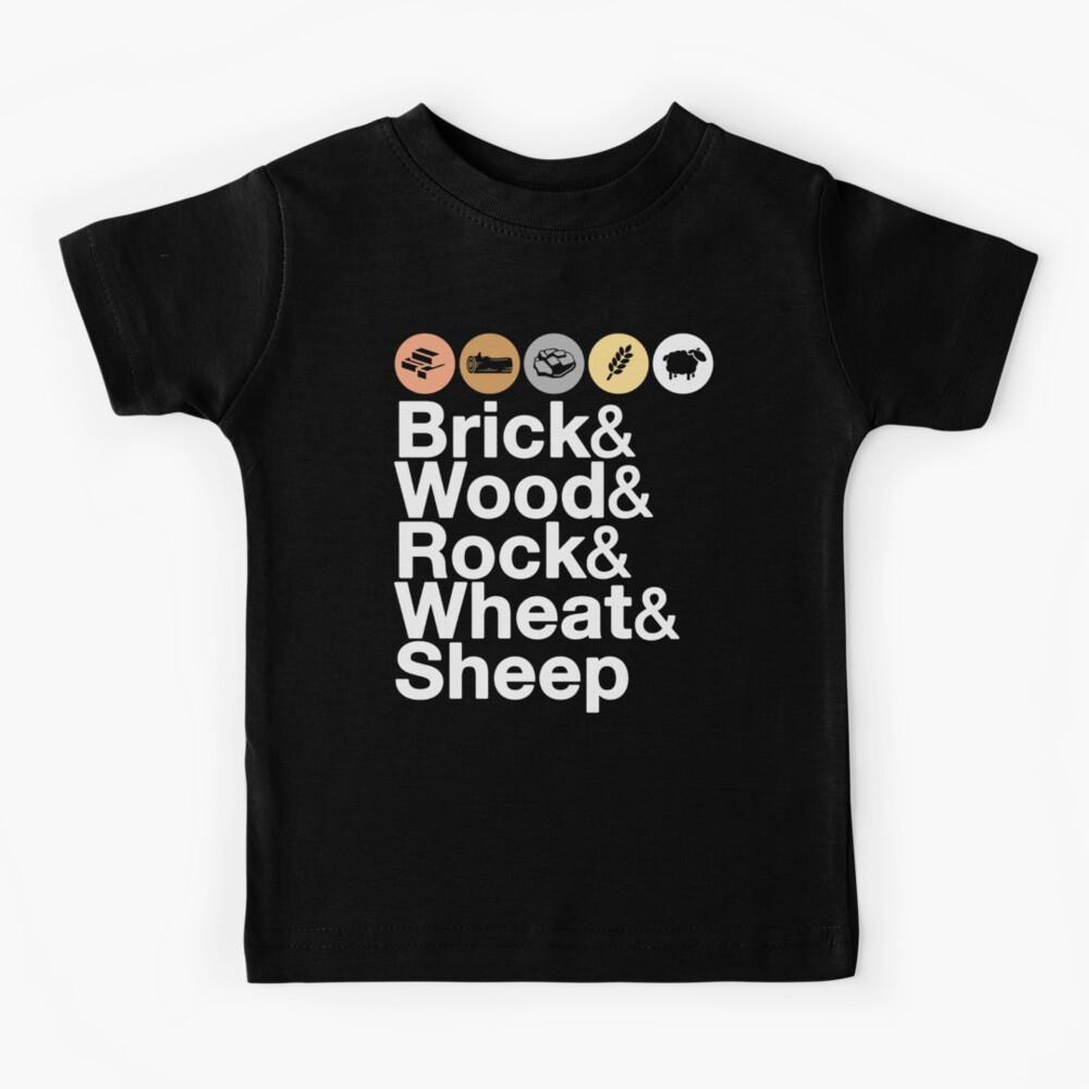 Helvetica Settlers of Catan: Brick, Wood, Rock, Wheat, Sheep | Board Game Geek Ampersand Design Kids T-Shirt