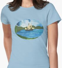 Pirate Ship Fantasy Seascape Womens Fitted T-Shirt