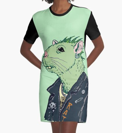 Rat Punk™ (Vile Green) Graphic T-Shirt Dress