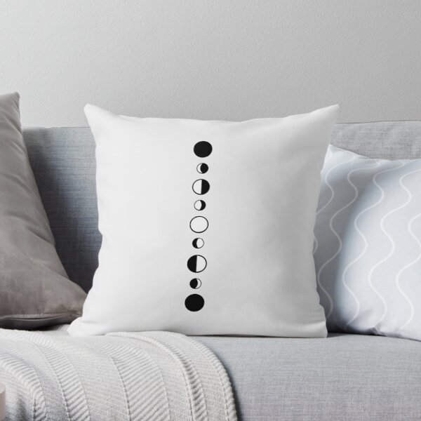 Moon Phases - Black and white Throw Pillow