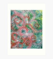 Acrylic Abstract - Rainbow Pointillism (Pink) Art Print