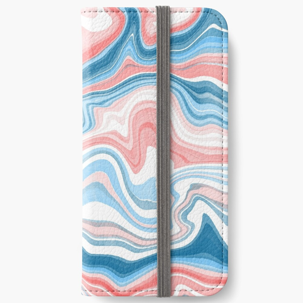 Red/Blue Marble iPhone Wallet