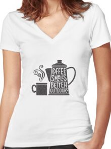 Coffee Smells Better Women's Fitted V-Neck T-Shirt