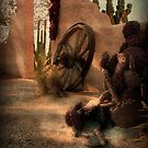 Wagon Wheel, Cactus & Chili Peppers by Lucinda Walter