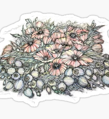 Poppies.Hand draw  ink and pen, Watercolor, on textured paper Sticker