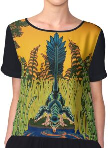 Troodon in the Rushes Women's Chiffon Top