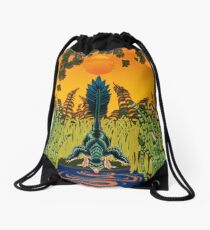 Troodon in the Rushes Drawstring Bag