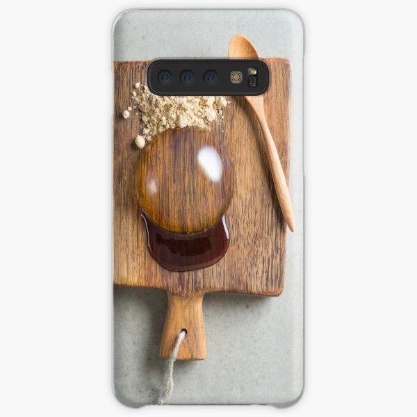 Raindrop cake on wooden board Samsung Galaxy Snap Case