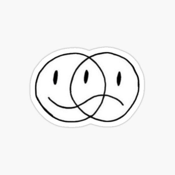 superposición de cara feliz y triste Pegatina