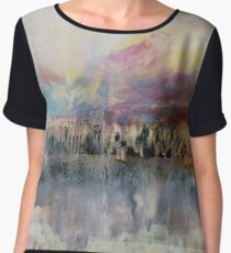 Creamy Sky and Earth, Pastel Encaustic Landscape Women's Chiffon Top