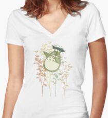 Totoro's flowers Women's Fitted V-Neck T-Shirt