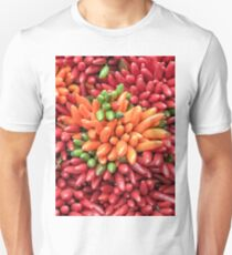 Colorful hot chili peppers background Unisex T-Shirt