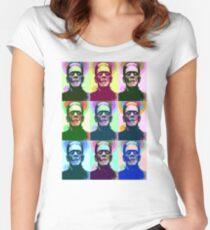 Frankenstein Pop Art Women's Fitted Scoop T-Shirt