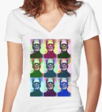 Frankenstein Pop Art Women's Fitted V-Neck T-Shirt