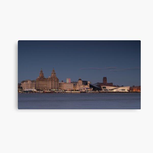 Liverpool Waterfront Evening Illumination Canvas Print