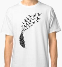 Black feather with flying birds Classic T-Shirt